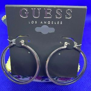Guess Silver-Tone Textured Double Hoop Earrings